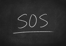 Sos. Concept on blackboard background stock images