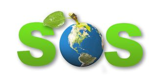 Sos concept earth. Sos green concept earth Stock Photo