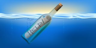 Free SOS Concept With A Bottle At The Sea To Symbolize A Distress Call. Royalty Free Stock Photo - 159154035