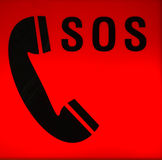 SOS distress signal. The SOS distress signal is a continuous sequence of three dits, three dahs, and three dits, all run together without letter spacing Royalty Free Stock Photo