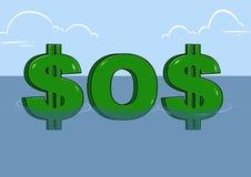SOS dollar crisis cartoon Royalty Free Stock Photo