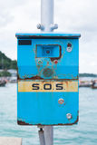 SOS, Emergency SOS telephone. Emergency SOS Telephone seaside, thailand royalty free stock image