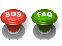 Sos and faq buttons Stock Photos