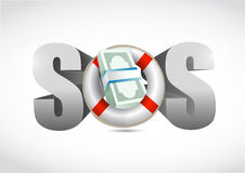 SOS financial help concept illustration Royalty Free Stock Photos