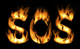 Sos fire text. the fire alarm. Royalty Free Stock Photos