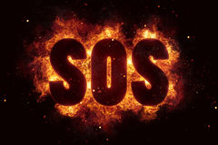 Sos help fire text sos flames flame burn burning explode. Explosion Royalty Free Stock Photography