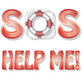 SOS-Help me. Illustration of letters and text messages to help Stock Photography