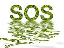 SOS letters from leaves Royalty Free Stock Image