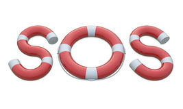 SOS life belt and letters Royalty Free Stock Images