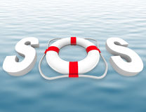 SOS - Life Preserver on Water Surface Royalty Free Stock Image