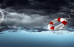 Sos - Lifebelt In The Storm. Help Concept Royalty Free Stock Photography