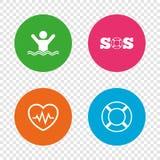 SOS lifebuoy icon. Heartbeat cardiogram. Royalty Free Stock Images