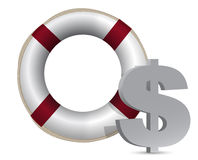Sos lifesaver dollar currency illustration Royalty Free Stock Photos