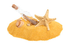 SOS message in bottle. Bottle with SOS message on yellow sand. Isolated on white stock image