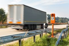 SOS phone. Emergency telephone at the roadside. Morning on the German highway. Stock Images