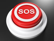 SOS pushbutton - 3D rendering. A red pushbutton with the write SOS in a circle on its upper part - 3D rendering illustration Royalty Free Stock Image