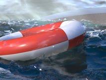 SOS resue me!. Sailing boat sunk scene, rescue ring in the ocean. Rendering royalty free illustration