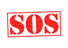 SOS Rubber Stamp. Over a white background Royalty Free Stock Photo