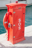 SOS , Safeguards at Harbour. Harbour safety equipment stock photos