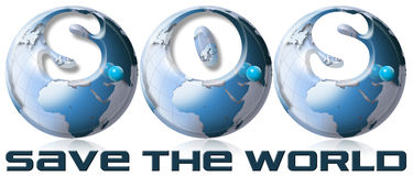 SOS Save the world. 3 blue globes with writing S.O.S. Save the world Stock Image