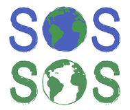 Sos scratch grunge graffiti print sign with planet. Earth icon in green and blue colors  on white Stock Photography