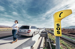 SOS service point on highway. Woman driver has a problem with car Royalty Free Stock Photo