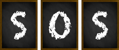 SOS sign. On framed blackboards Stock Image