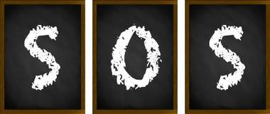 SOS sign. On framed blackboards stock image