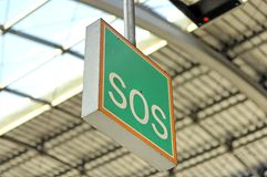 SOS sign. A sos sign at a berlin train station Stock Image