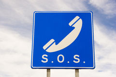 SOS sign. On the highway royalty free stock photo