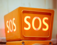 Sos sign, closeup view. Orange sos sign, closeup view Royalty Free Stock Photos