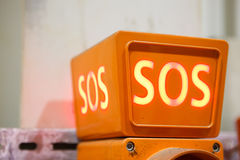 Sos sign, closeup view. Orange sos sign, closeup view Royalty Free Stock Image