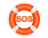 SOS sign with lifebuoy Royalty Free Stock Photos