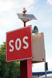 SOS sign for quick help. SOS sign and call for help in the harbor. SOS sign for quick help Stock Photos