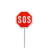 SOS sign. Traffic stop sign isolated on white Stock Photography