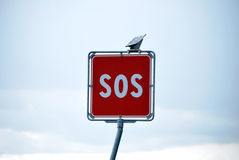 Sos signal. On the highway royalty free stock photography