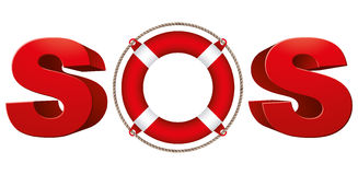 SOS signal with life ring. Stock Image