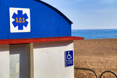 SOS. Station handicapped accessible on the beach Royalty Free Stock Photography