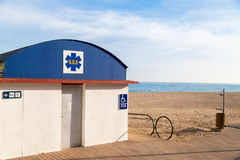 SOS station. Handicapped accessible on the beach Stock Image