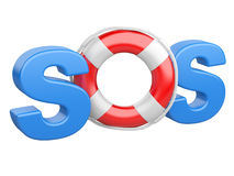 SOS symbol with lifebelt. Isolated on a white background Royalty Free Stock Images