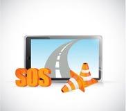 Sos tablet road highway illustration design Stock Image