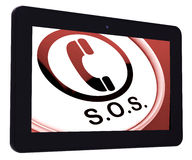 SOS Tablet Shows Call For Urgent Help Stock Images