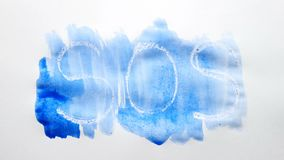 Sos text inscription watercolor artist paints blot isolated on white background art video. Sos text inscription watercolor artist paints blot isolated on white stock video