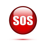 SOS text on red button Stock Photography
