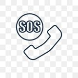 Sos vector icon isolated on transparent background, linear Sos t vector illustration