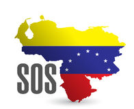 Sos venezuela map illustration design Royalty Free Stock Images