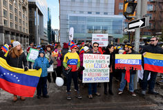 SOS Venezuela protest in Ottawa. Venezuelans gather in front of Parliament Hill to bring attention to the plight of their countrymen who are protesting against stock photos