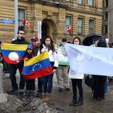 SOS Venezuela protest in Ottawa. Venezuelans gather in front of Parliament Hill to bring attention to the plight of their countrymen who are protesting against Stock Photo