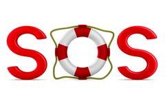 SOS on white background.  3D Royalty Free Stock Photo