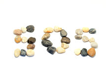 SOS word with stones. SOS word written with stones of different shapes and colours on a white background Stock Photo